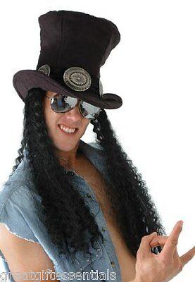 Rock Star Guitar Costume Wig Top Hat Slash Guns Roses Hero Metal Rocker Hair