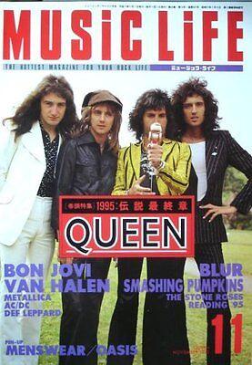 QUEEN MUSIC LIFE JAPAN MAGAZINE 11/1995 Bon Jovi Blur Smashing Pumpkin Van Halen