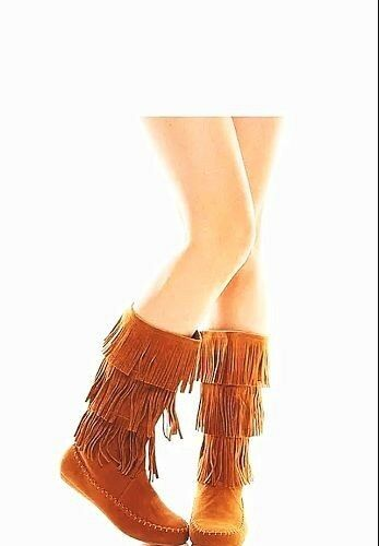 New Women's Cute Mid Calf Faux Suede Fringe Tassle Flat Moccasin Dress Boots
