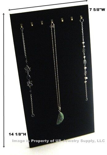 "6 Black 7 Hook Necklace Pendant Easel Back Jewelry Displays 7 5/8""W x 14 1/8""H"