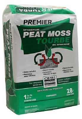 (1) 1 CUBIC FT BALE PREMIER HORTICULTURAL SPHAGNUM PEAT MOSS ORGANIC - 0262P