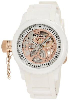 Invicta 1827 Women's Russian Diver Rose Gold Dial White Rubber Band Watch