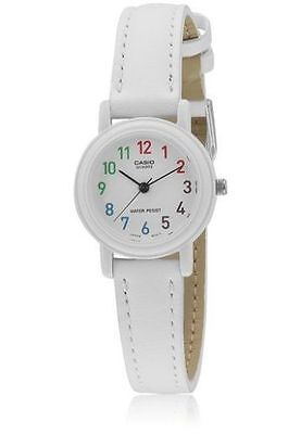 Casio Women's White Leather Watch, Analog, Water Resistant, LQ139L-7B