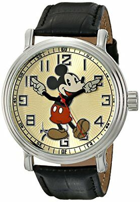 """Disney Mens 56109""""Vintage Mickey Mouse"""" Watch with Black Leather Band"""
