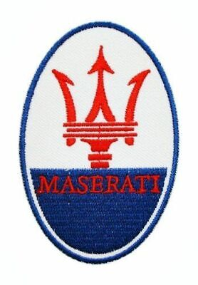 """MASERATI Motors Cars Motorsport 3.5"""" x 2.25"""" Iron-on or Sew-on Embroidered Patch"""