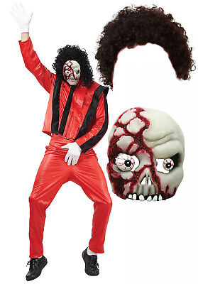 Michael Jackson Thriller Fancy Dress 80s Halloween Costume Afro + Zombie Mask](Thriller Halloween Costumes)