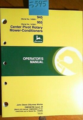 John Deere 945 145001- 955 147001- Center Pivot Rotary Mower-conditioner Manual