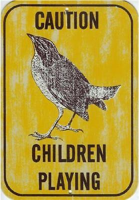 Caution Children Playing Bird Nature Safety Metal Sign Caution Children Playing Signs