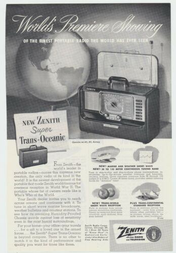 Vtg Zenith Super Trans-Oceanic Portable Radio Photo Lithograph Ad Man Cave Decor