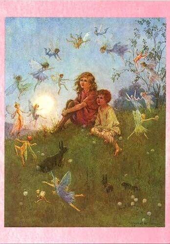 Margaret Tarrant Postcard Fairies Dance Around Kids Rabbit Fairy Tale  Medici