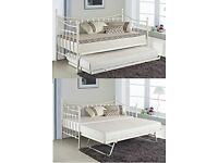 White day bed and trundle, includes mattresses - as new condition