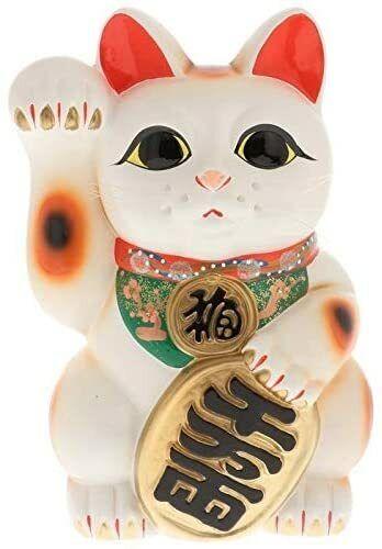 """Japanese 常滑焼 Tokoname 13""""H raised right paw Maneki Neko Coin Bank Made in Japan"""