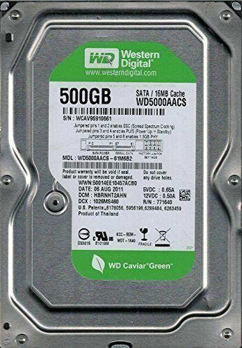 """Western Digital 3.5"""" Green 500GB SATA Hard Drives - WD5000AACS-61M6B2"""