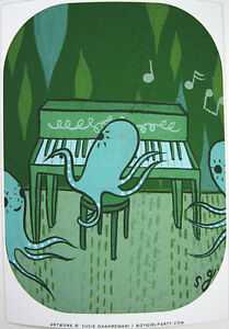 Framed Print of Octopus Playing a Piano by boygirlparty - $10.00