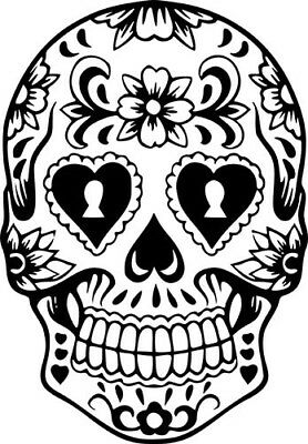 Sugar Skull Day Of The Dead Skeleton Car Wall Window Laptop Vinyl Sticker - Day Of The Dead Stickers