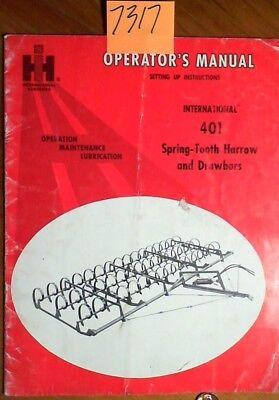 Case International 401 Spring-tooth Harrow Drawbars Owners Operators Manual