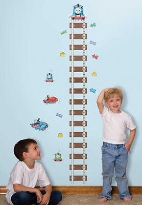 THOMAS the TANK ENGINE TRAIN Growth Chart Wall Stickers tracks kids room decor for sale  Piscataway
