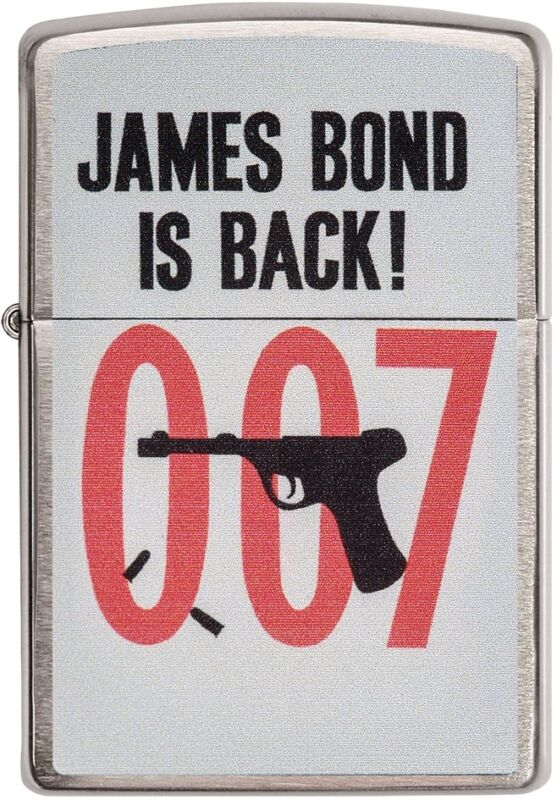 Zippo Choice James Bond Is Back 007 Collection Brushed Chrome Lighter 29563 NEW