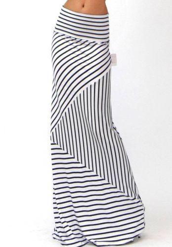 Navy White Stripe Skirt Ebay
