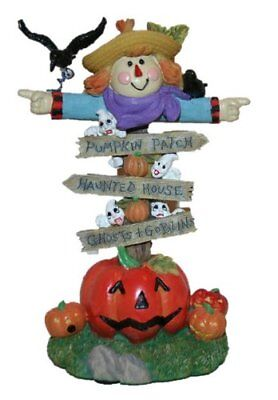 BNIB Four Seasons Poly Stone Halloween Figurine, Scarecrow Sign ()