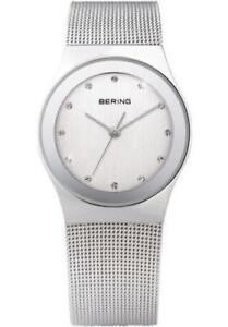 Bering Womens 12927-000 Classic White Dial Stainless Steel Mesh Band SS Watch