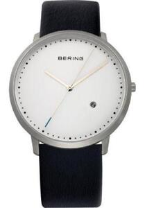Bering Men 11139-404 Classic White Dial Silver SS Watch Genuine Leather Band