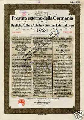 Deutsches Reich Anleihe 1924 Dawes Italien Reparationszahlung 1. Weltkrieg WW 1