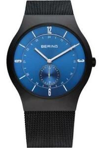 Bering Mens 11940-227 Classic Blue Dial Black Stainless Steel Mesh Band Watch