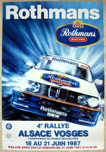 BMW poster 1987 4th Alsace rally BMW M3 Rothmans
