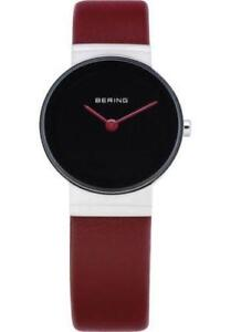 Bering Womens 10126-604 Classic Black Dial Red Calfskin Leather Band SS Watch