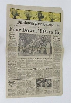 Pittsburgh Post Gazette 1980 Steelers Super Bowl Xiv Complete Newspaper 125189