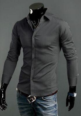 New Luxury Shirts Mens Casual Formal Slim Fit Shirt Top Dark Grey S M L