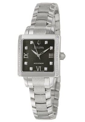 Bulova Accutron 63R104 Diamonds Black Dial Masella Silver Tone Womens Watch $950