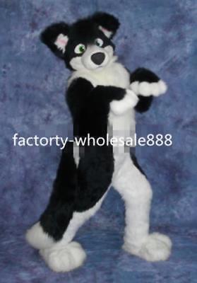 Black Husky Dog Mascot Costume Fox Adult Long Fur Suit Unisex Christmas Party - Dog Fox Costume