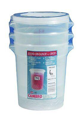 Cambro RFS4PPSW3190 4-Quart Round Food-Storage Container with Lid, Set of 3 Cambro Storage Container Lid