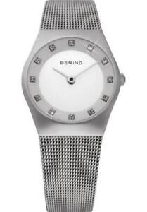 Bering Women 11927-000 Classic White Dial Silver Stainless Steel Mesh Band Watch