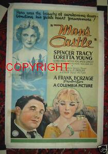 ORIGINAL MAN'S CASTLE 1933 OS STONE LITHO SPENCER TRACY