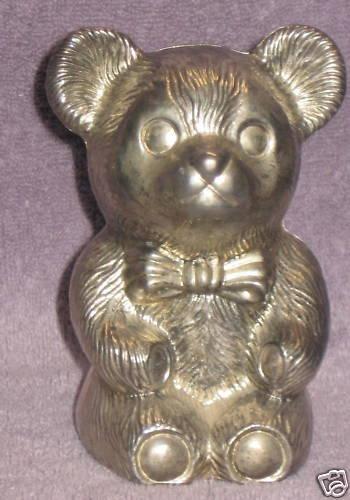 SILVER PLATED TEDDY BEAR BANK-VERY NICE