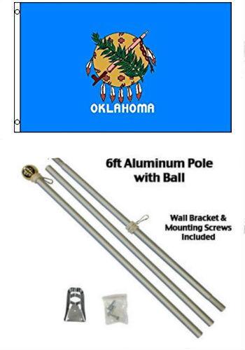 3x5 State of Oklahoma Flag Aluminum Pole Kit Gold Ball Top 3