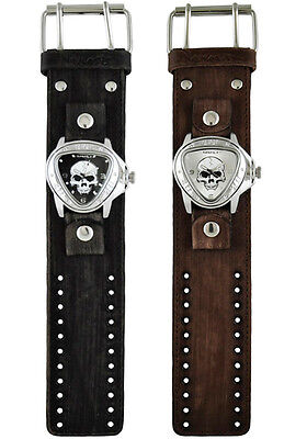Nemesis Heavy Duty Skull Triangle Watch with Faded XL Stitched Leather Cuff (Skull Cuff Watch)