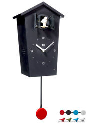 Kookoo Birdhouse Watch Black New/Boxed Modern Design Cuckoo 4 Birds/Pendulum