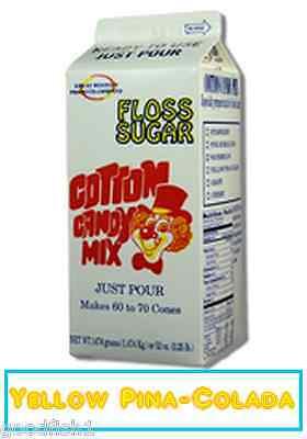 Cotton Candy Floss Sugar 1 Carton Yellow Pina-colada Flossugar Free Shipping