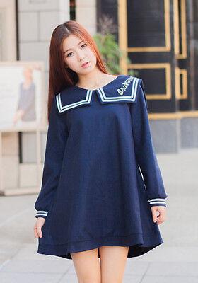Summer Japanese Lolita Sweet Cute Womens Sailor Collar Long Sleeve Dress