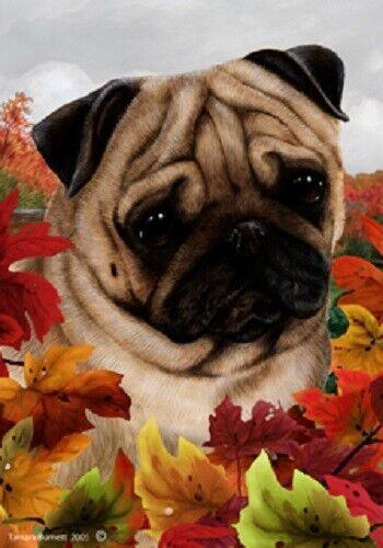 Fall Garden Flag - Fawn Pug 130221