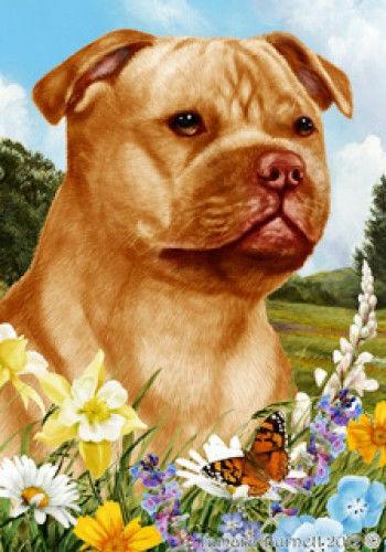 Summer House Flag - Orange Staffordshire Bull Terrier 18247