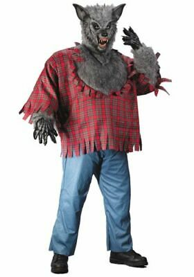 WEREWOLF Grey Plus Size Men's Costume Full Moon Howling Scare Halloween - Full Moon Halloween Costume
