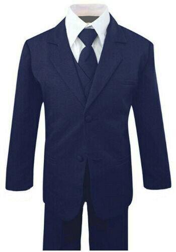 Boys Recital, Ring Bearer Graduation Suit Set, Navy Blue/White, Sz: 2T to 14