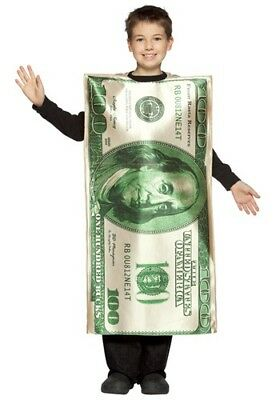 Child's $100 Dollar Bill Costume - Fits Child Sizes 7-10](Dollar Bill Costume)