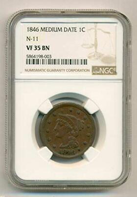 1846 Braided Hair Cent Medium Date N-11 VF35 BN NGC