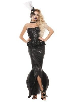 USED WOMEN'S BLACK DARK MERMAID SIREN FINS FISH OCEAN SEA COSTUME SIZE SMALL](Dark Mermaid Costume)
